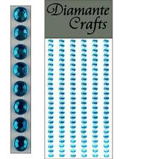 150 x 4mm Turquoise Diamante Self Adhesive Strips Rows Rhinestone Craft  Gems