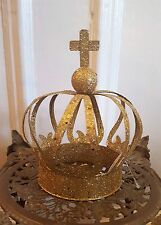VINTAGE CHRISTMAS TREE TOPPER GOLD CROWN GLITTERY METAL SEQUINS LARGE