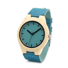 Bamboo Wooden Watches Blue Leather Band Quartz Watch for Men Women in Gift Box