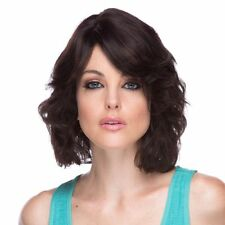 LOTUS BEACH CURLS MEDIUM LENGTH BOB WITH A SWOOP BANG HUMAN HAIR * Natural Black