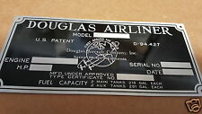 Douglas DC-3 - DC-6 Airliner data plate Acid Etched Aluminum1930s - 1950s