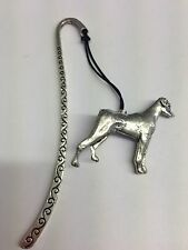 Doberman PP-D25 Dog Pattern bookmark with cord 3D English pewter charm