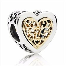 Love Heart silver charm bead FOR Sterling 925 European Necklace/Bracelets chains