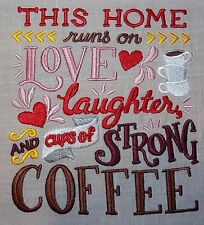 "Embroidered Quilt Block Panel ""Love Laughter Coffee"" Pure Irish Linen Fabric"