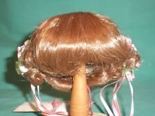 "doll wig light brown 9"" to 9.5"" Glorex/Switzerland with pinned up braids backs"