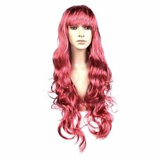 Long 70cm Red Wavy Women's Cosplay Fancy Dress Synthetic Wig with Fringe