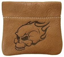 New Leather Flaming Skull Squeeze Coin Pouch Change Purse USA Made