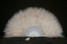 "MARABOU FEATHER FAN - BEIGE Feathers 12"" x 20"" Sexy/Fans/Burlesque/Bridal"