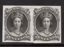Nova Scotia #12TCv VF Plate Proof Pair India Paper With Scarce Overprint In Gold