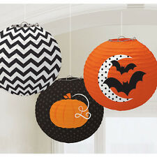 3 X Halloween Carta LANTERNE appese partito DECORAZIONI ORANGE & BLACK gratis P&P