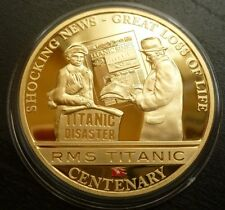 Titanic Centenary 24ct Gold-Plated Cook Islands $1 2012 Shocking News + COA