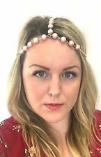 Blush Pink Gold Pearl Headpiece 1920s Headband Flapper Great Gatsby Vintage 813