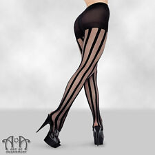 Gothic Black Sheer VERTICAL STRIPED PANTYHOSE Stripe Tights Burlesque Steampunk