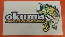 OKUMA BASS FISHING DECAL STICKER /TACKLEBOX/BOAT/KAYAK/CAR/VAN 220MM X 120MM