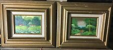 2 Vintage L. Teni Oil Paintings on Board - Caribbean Art