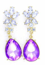 Gold tone clear crystal flower and purple crystal drop earrings