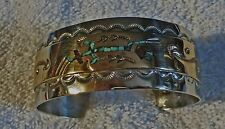 Native American Sterling Silver & Gold inlaid Road Runner Cuff Bracelet