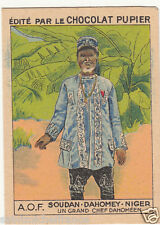 CHEF Chief INDIGENE Indigenous Dahomey AOF Bénin CARD IMAGE CHROMO 1938