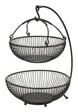 2 Tier Fruit Basket Bowl Holder Banana Hanger Hook Rack Stand Storage Kitchen