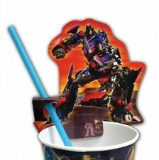 TRANSFORMERS CUP CLIPS & STRAWS Child Birthday Party Supplies Boys Movie NEW