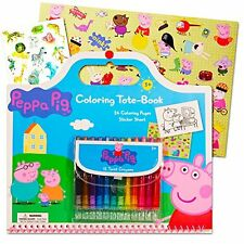 Peppa Pig Giant Coloring Book Tote Set with Peppa Pig Stickers and Twist New