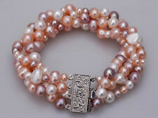 4 Rows Real Multi-Colored White Pink Purple Pearl 18KWGP Flower Clasp Bracelet