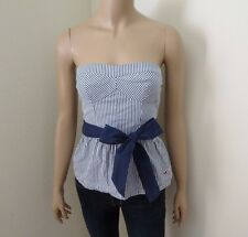 NWT Hollister Womens Strapless Striped Tube Top Size Small Ribbon Bow Blue