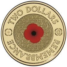 2012 AUSTRALIA REMEMBRANCE $2 RED POPPY COINS - UNC - C MINTMARK IN CAPSULE