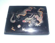 papier mache lacquer card case Chinese dragon chasing pearl of wisdom 龙珍珠智慧