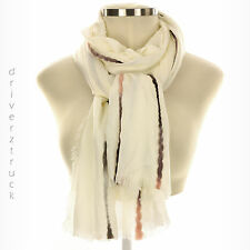 SIMPLY VERA WANG Lightweight WHITE OVERSIZED WRAP Scarf PINK GRAY BLACK Accents