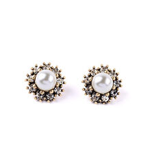 NEW Stylish Anthropolo​​gie Mistico Circlio Pearl Rhinestone Earrings JC - 934