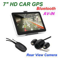 """7"""" Car GPS Navigation Bluetooth AV-IN Sat Nav Wireless Rear View Camera 4GB Map"""