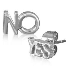 Stainless Steel Silver Tone No Yes Stud Earrings   c14