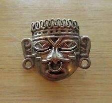 VINTAGE MEXICAN AZTEC MAYAN WARRIOR MASK 925 STERLING SILVER BROOCH / PIN
