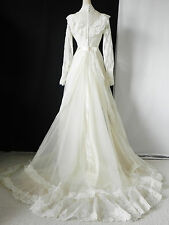 Vtg Union Made Wedding Dress Victorian Lace Bead Trim Ivory Floor Length Size S