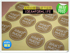 60pcs Hand Made Stickers Kraft w/ White Label Lolly Cello Bag PartySeal 35mm CLP