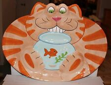 "Orange Cat & Fish Bowl - Handcraft Ceramic Serving  17"" Platter - Lotus"
