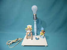 Vintage German boy w/ guitar & girl knitting wood baby Lamp by Nursery Plastics