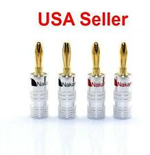 4pcs Nakamichi 24K Gold Plated 4mm Banana Plugs Audio Adapter Speaker Connectors