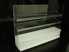 White Wood and Perspex 3 Shelf Shop Display Dollhouse Miniatures Market Deco