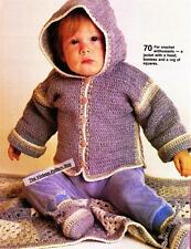 HOODIE JACKET,BOOTIES & RUG / 3 sizes / 8ply or D.K. - baby crochet pattern