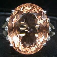 TOPMOST! FIRE PINK PEACH MORGANITE 925 SILVER RING