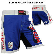 New MRX MMA Fight Shorts Grappling Shorts UFC Blood Cage Fighter Blue White, M