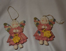 "Lot of 2 Christmas Ornaments Angel Angels Decoration Holiday 4"" Tall Ornament"