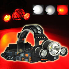 9000LM XM-L T6 Weiß+2R2 Rot LED 18650 Headlamp Headlight Torch Stirnlamp Lamp