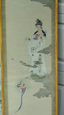 ANTIQUE 19c JAPANESE WATERCOLOR SCROLL PAINTING ON SILK OF QUAN-YIN AND BOY