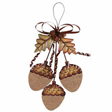 "Thanksgiving Fall Burlap Metal Acorn Cluster Hanging Sign/Wall Décor 15""H"