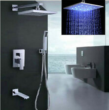 Wall Mounted LED Bathroom Rain Shower Faucet Set Bathtub Mixer Tap Shower Chrome