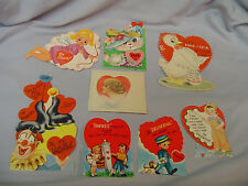 "Valentines Cards 8 In Mixed Lot #12 Some Signed 6.5"" To 3.25"" Tall 1950's"