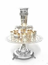 925 Sterling Silver Judaica Kiddush Wine Fountain Cups Goblet